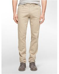 Calvin Klein Jeans Slim Straight Leg 5-Pocket Cotton Stretch Twill Pants - Lyst