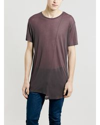 Topman Burgundy Panel T-shirt - Lyst