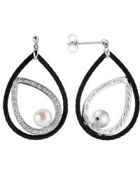 Charriol Celtic Noir 18K White Gold And Black Ss With Grey Pearls 0.23Tcw Dangle Earrings - Lyst