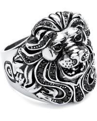 Palmbeach Jewelry - Men's Lion Ring With Crystals Made With Black Swarovski Elements Set In Antiqued Stainless Steel - Lyst