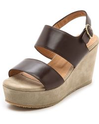 A.P.C. Two Band Wedge Sandals Dark Brown - Lyst