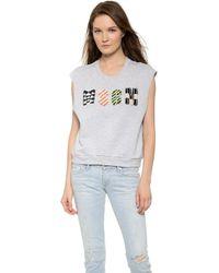 MSGM Sleeveless Sweatshirt - Grey - Lyst