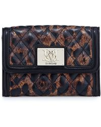 Moschino Nero Leopard-print Quilted Faux-leather Wallet - Lyst