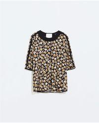 Zara Mixed Print Pleated Top - Lyst
