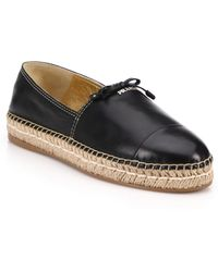 Prada | Leather Espadrille Flats | Lyst