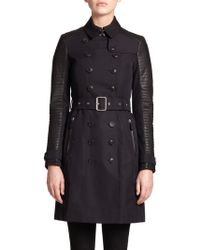 Burberry Brit Leather-Contrast Trenchcoat - Lyst