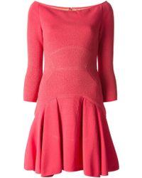 Elie Saab Boat Neck Flared Dress pink - Lyst