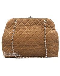 Chanel Pre-owned Suede Kisslock Large Shoulder Bag - Lyst