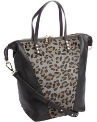 Kelsi Dagger Black Leather Leopard Print 'Abbey' Tote Bag - Lyst