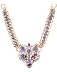 Betsey Johnson Fox Princess Frontal Necklace purple - Lyst
