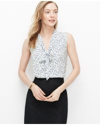 Ann Taylor Bloom Crepe Tie Neck Shell blue - Lyst