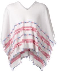 Barrie Stripe And Fringe Poncho - Lyst