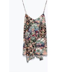 Zara Printed Long Top - Lyst