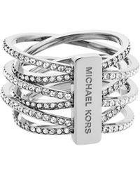 Michael Kors Crystal And Steel Criss Cross Ring silver - Lyst