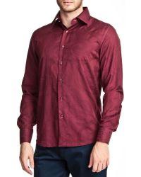 T.R. Premium - Jacquard Print Long Sleeve Button Down Shirt - Lyst