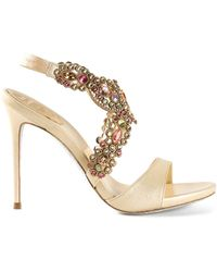 Rene Caovilla Jeweled Halter Sandals - Lyst