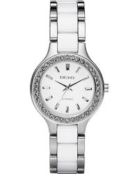 DKNY Chambers Ceramic Watch White - Lyst