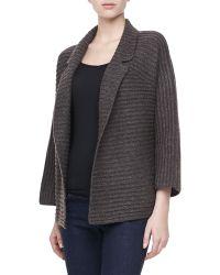 Halston Heritage Long Sleeve Ribbed Cardigan Sweater - Lyst