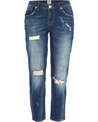 River Island Mid Wash Ripped Eva Girlfriend Jeans - Lyst