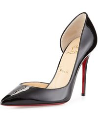 Christian Louboutin Iriza Patent Half Dorsay Red Sole Pump - Lyst
