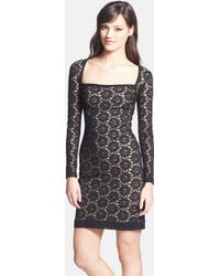 Nicole Miller Long-Sleeved Stretch-Lace Dress - Lyst