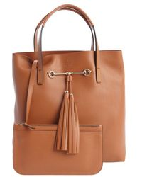 Gucci Brown Leather Park Avenue Horsebit and Tassel Tote with Pouchette - Lyst