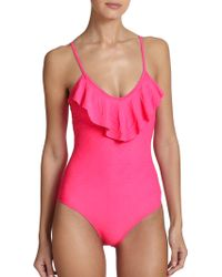 Shoshanna One-Piece Ruffle Swimsuit pink - Lyst