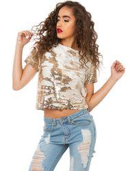Akira Black Label - Camila Sequin Top - Gold - Lyst