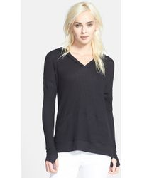 Feel The Piece Women'S 'Richie' Waffle Knit Thermal Hoodie - Black - Lyst