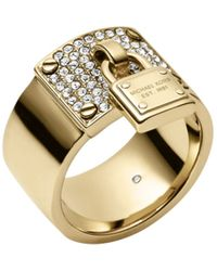 Michael Kors Gold-Tone Padlock Charm Ring - Lyst