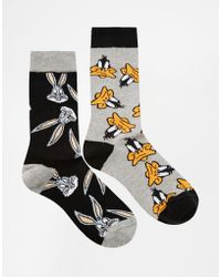 Asos 2 Pack Socks with Bugs Bunny and Daffy Duck - Lyst