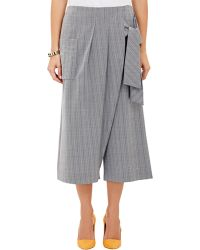 Thakoon Wrap-Front Cropped Wide-Leg Trousers - Lyst