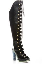Rodarte Black Embossed Over The Knee Lace Up Boot - Lyst