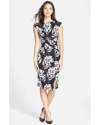 French Connection Women'S 'Shadow Bloom' Flower Print Jersey Sheath Dress - Lyst