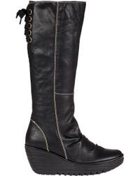 Fly London Yust Wedge Boot Black Leather - Lyst