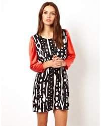Olivia Rubin - Monochrome Print Silk Tunic Dress with Orange Sleeves - Lyst