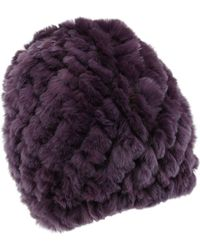 Belle Fare - Knitted Rabbit Fur Reversible Puffy Hat - Lyst