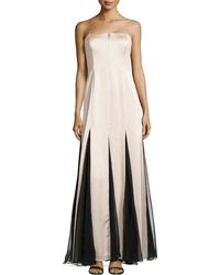 Halston Heritage Strapless Sheer-Inset Gown - Lyst