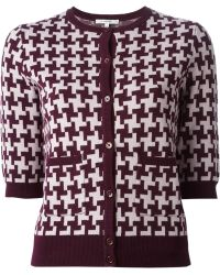 Carven Houndstooth Pattern Cardigan - Lyst
