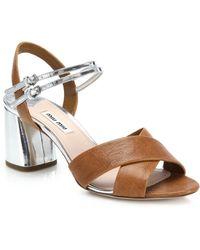 Miu Miu | Crisscross Leather Sandals | Lyst