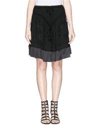 Givenchy Lace Trim Satin Hem Drawstring Jersey Skirt - Lyst