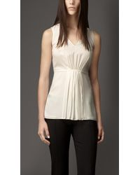 Burberry Pleated Front Silk Top - Lyst