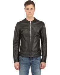 Dolce & Gabbana Perforated Double Leather Jacket - Lyst