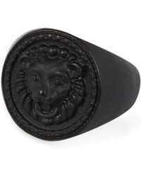 River Island Black Matte Lion Ring - Lyst