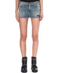 Diesel Distressed Denim Skirt Denim - Lyst
