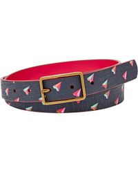 Fossil - Printed Hearts Leather Jeans Belt - Lyst