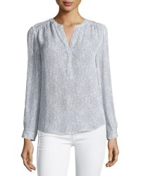 Joie | Carita Long-sleeve Lace-print Top | Lyst