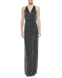 Parker Black Theron Sleeveless Beaded Halter-Neck Gown - Lyst