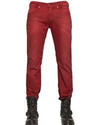 Diesel 18cm Iakop Creased Cotton Denim Jeans - Lyst