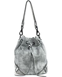 She + Lo - Silver Lining Drawstring Leather Bag - Lyst